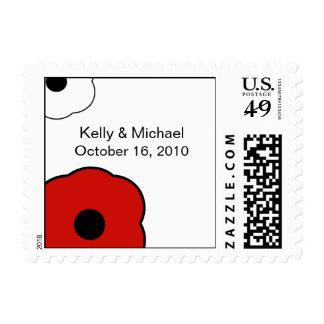 Modern Flower B&W Red postage stamp
