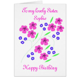 Modern Flower card Sister add name front