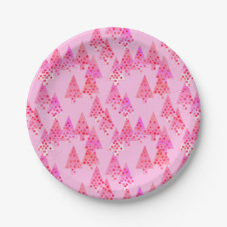 Modern flower Christmas trees - pastel pink Paper Plate