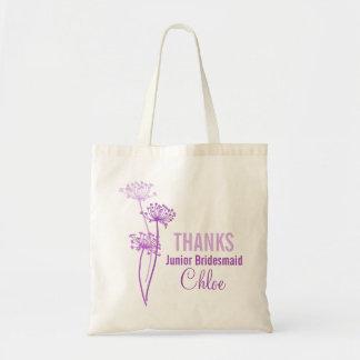 Modern flower junior bridesmaid purple flower bag