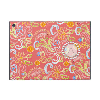 Modern Flower Pattern Floral Leaf Swirl Monogram iPad Mini Cover