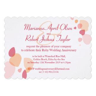 Modern flower petals red ruby wedding invite