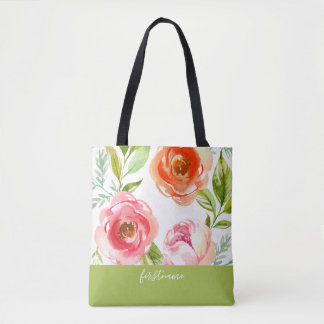 Modern Flowers with Feminine Monogram Tote Bag