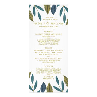 Modern Foliage Floral Wedding Menu
