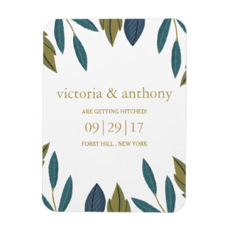 Modern Foliage Floral Wedding Save The Date Magnet