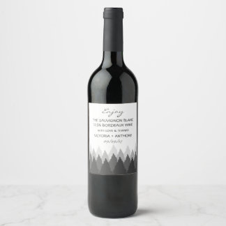 Modern Forest Range Woodland Wedding Favor Wine Label