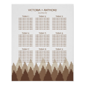 Modern Forest Range Woodland Wedding Seating Chart