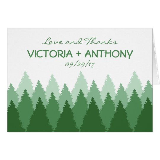 Modern Forest Range Woodland Wedding Thank You Card