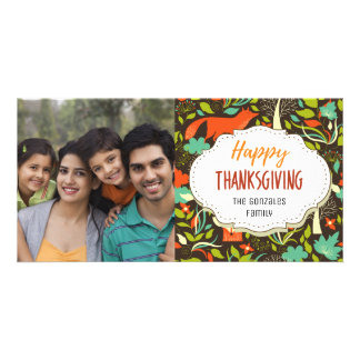 Modern Forest Thanksgiving Picture Photo Card