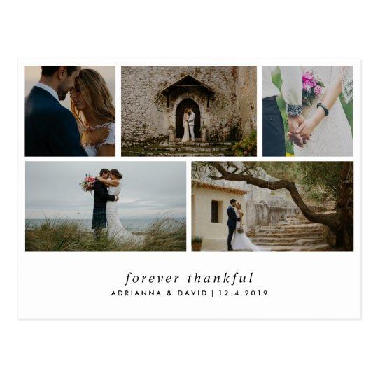 Modern Forever Thankful Simple Five Wedding Photos Postcard