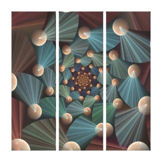 Modern Fractal Art Brown, Slate, Blue Triptych Canvas Print
