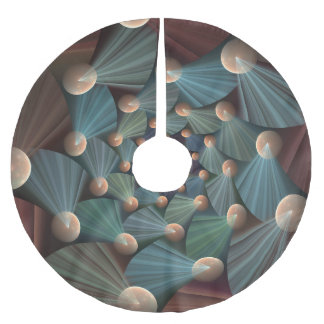 Modern Fractal Art With Depth, Brown, Slate, Blue Brushed Polyester Tree Skirt