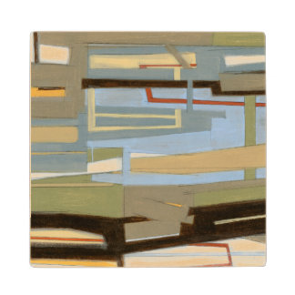 Modern Free Expression Painting by Norman Wyatt Maple Wood Coaster