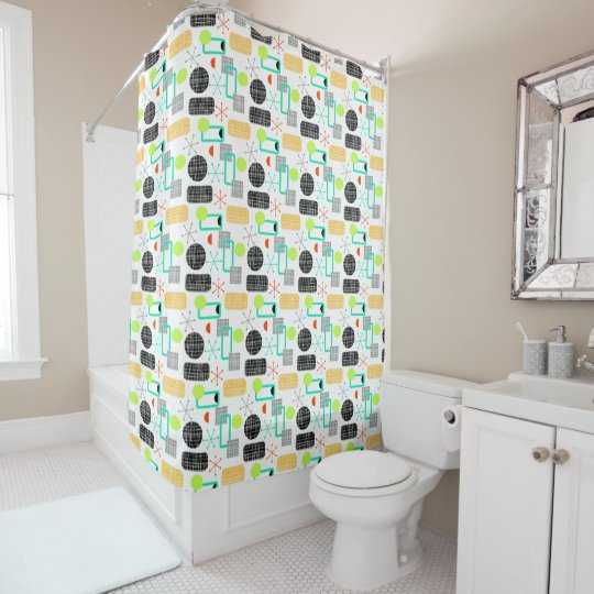 Modern Fresh Bright Geometric Pattern Shower Curtain