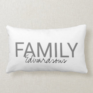 Modern fresh white monogram Family name Lumbar Cushion