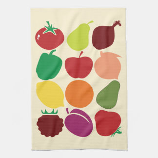 Modern fruit and vegetable silhouettes tea towel