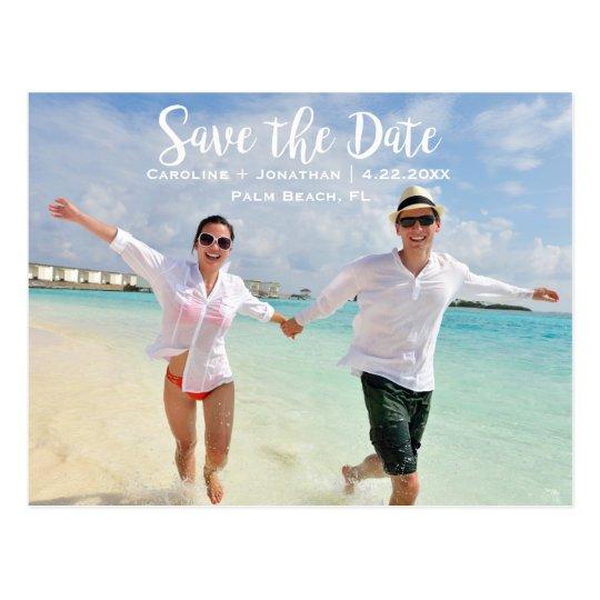 Modern Fun Beach Photo Wedding Save the Date