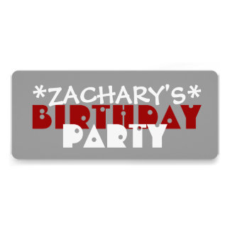 Modern Fun Birthday Party GRAY and RED A06 Invitations