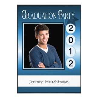 Modern Fun Graduation Party Custom Photo Blue Custom Invitation