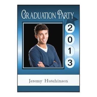 Modern Fun Graduation Party Custom Photo Blue 13 Cm X 18 Cm Invitation Card