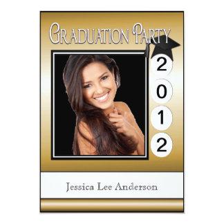 Modern Fun Graduation Party Custom Photo Gold 13 Cm X 18 Cm Invitation Card
