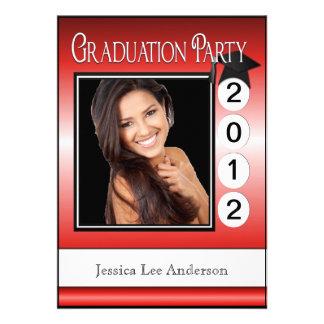 Modern Fun Graduation Party Custom Photo Red Invites