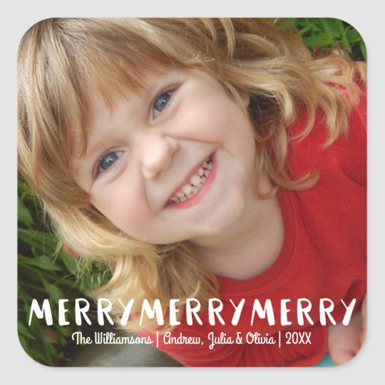 Modern Fun Merry Merry Christmas Holiday Photo Square