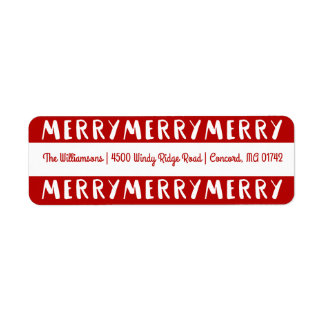 Modern Fun Merry Merry Christmas Red Holiday