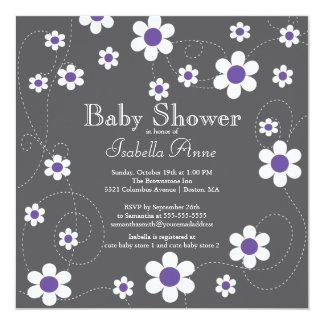 Modern Fun Purple Flowers Floral Girls Baby Shower 13 Cm X 13 Cm Square Invitation Card