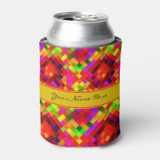 Modern Funky Colorful Geometric Pattern Can Cooler