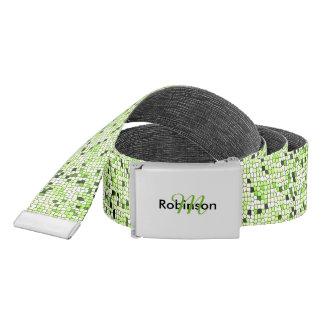 Modern Funky Green Mosaic Pattern Personalized Belt