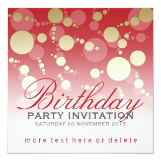 Modern Funky Red Gold Party Birthday Invitations