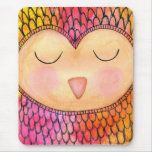 Modern Funky Sleepy Owl Mixed Media Painting Mousemat