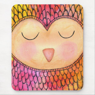 Modern Funky Sleepy Owl Mixed Media Painting Mouse Pad