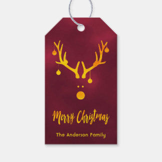 Modern funny cute Christmas gold reindeer burgundy Gift Tags