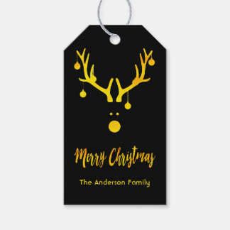 Modern funny cute Christmas gold reindeer on black Gift Tags
