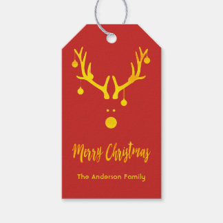 Modern funny cute Christmas gold reindeer on red Gift Tags