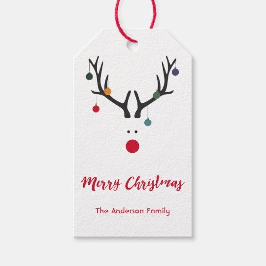 Modern funny cute Christmas reindeer on white Gift