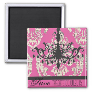 modern fuschia damask Chandelier save the date Square Magnet