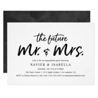 Modern Future Mr. & Mrs. Engagement Party Card