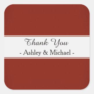 Modern Garnet Red Thank You Square Sticker