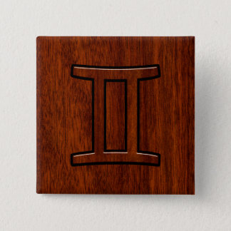 Modern Gemini Zodiac Symbol on Mahogany like print 15 Cm Square Badge