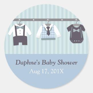 Modern Gentleman Baby Boy Shower Party Round Sticker