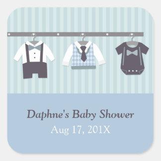 Modern Gentleman Baby Boy Shower Party Square Sticker