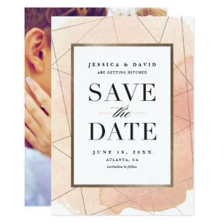 Modern geo watercolor faux foil save the date card