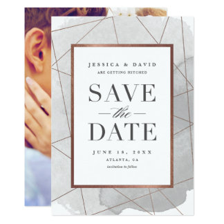 Modern geo watercolor faux foil save the date card 13 cm x 18 cm invitation card