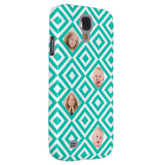 Modern Geometric 4 Photo Collage in Teal Galaxy S4 Case