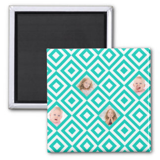 Modern Geometric 4 Photo Collage in Teal Square Magnet