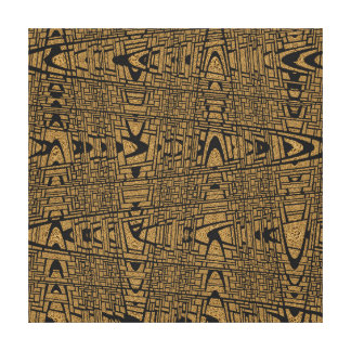 Modern Geometric Abstract Black Leopard Weave Wave Canvas Print