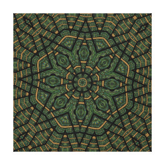 Modern Geometric Abstract Blue Green Peacock Stretched Canvas Print